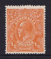 Australia 1923 King George V 1/2d Orange Single Crown Variety 66(9)i MH - 1913-36 George V: Heads