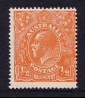 Australia 1923 King George V 1/2d Orange Single Crown Variety 66(8)s MH - 1913-36 George V: Heads