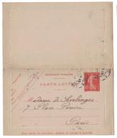 TYPE SEMEUSE CAMÉE - ENTIER POSTAL CARTE-LETTRE 10c ROUGE (CHIFFRES MAIGRES) OBLITÉRÉ (DATE 649) - Entiers Postaux
