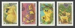 BHUTAN 1984 WWF ENDANGERED SPECIES WILDLIFE MONKIES GOLDEN LANGUR SET MNH - Bhutan