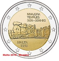 MALTA 2 Euro 2018 - Tempel Von Mnajdra - Aus Rolle - Auf Lager - Malta
