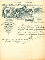 172/27 - ECLAIRAGE Belgique - Attestation Illustrée 1914 - Eclairage à L' Electricité  Maison Hanniet à Bruxelles - Electricity & Gas
