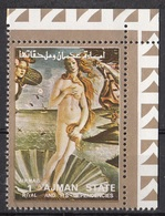 "Ajman 1973 Mi. 2558 ""Nascita Di Venere""  Quadro Dipinto Da S. Botticelli  Rinascimento Painting Tableau CTO - Nudes"