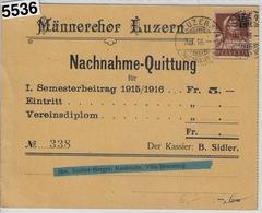 1916 Tell 134/126 Nachnahme Luzern 3.I.16 (Männerchor) - Covers & Documents