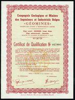 """COMPAGNIE GEOLOGIQUE ET MINIERE DES INGENIEURS ET INDUSTRIEL BELGES """"GEOMINES"""" - Certficat De Qualification - 1952. - Asie"""