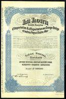 LA LOWA S.A. - Importation & Exportation Au Congo Belge Et Autres Pays D'Outre-Mer - Part N° 420487 - 1928. - Asie