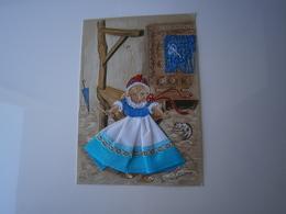 CARTE BRODEE * BRETAGNE - PETITE FILLE BRETONNE - ILLUSTRATION DE MARIE-CLAUDE MONCHAUX *  FANTAISIE - Embroidered