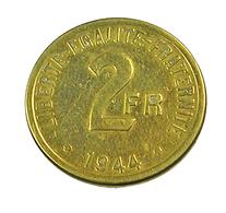 2 Francs  - Philadelphie  - France - 1944 -  Cu Alu   - TB+ - - France