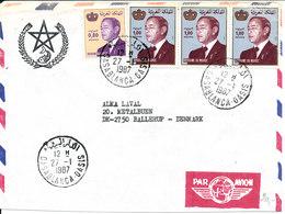 Morocco Air Mail Cover Sent To Denmark Casablanca 27-1-1987 - Marokko (1956-...)