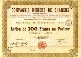 (C870)  VIEUX PAPIERS ACTIONS & TITRES - COMPAGNIE MINIÈRE DE CHARENS  ACTION DE 100 F AU PORTEUR - Mineral