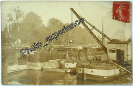CPA Carte Photo Bateau Peniche Grue Seine 1918 GRIGNY Essonne 91 - Grigny