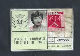 PORTUGAL ANCIENNE CARTE SERVICE DES TRANSPORT DE PORTO : - Abonnements Hebdomadaires & Mensuels