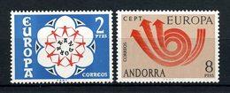 ANDORRE ESP 1966 N° 77/78 ** Neufs MNH Superbes Cote 1,20 € Fleurs Musique Cor Postal Flowers Flore EUROPA - Neufs