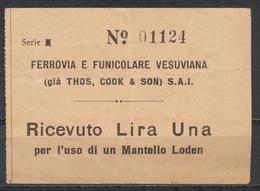 """°°° 11561 - RARO BIGLIETTO """" FERROVIA E FUNICOLARE VESUVIANA """" DA LIRE UNA °°° - Europa"""