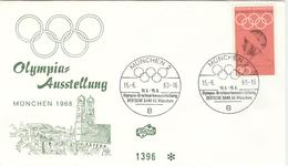 GERMANY Cover For The Olympic Stamp Exhibition In München With Handcancel Of 15.6.68 On Olympic Stamp - Summer 1972: Munich