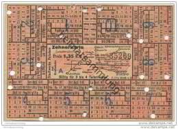Fahrkarte - Stadtwerke Potsdam - Abt. Strassenbahn - Zehnerkarte - Gültig Für 3 Bis 4 Teilstrecken 1,35 RM 1938 - Strassenbahnen