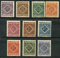 Madagascar (1947) Taxe N 31 à 40  * (charniere) - Madagascar (1889-1960)