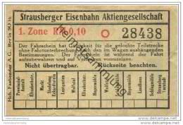 Fahrschein - Strausberg - Strausberger Eisenbahn Aktiengesellschaft - Fahrschein 1. Zone RM 0,10 - Strassenbahnen