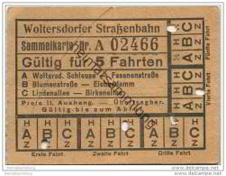 Fahrschein - Woltersdorf - Woltersdorfer Strassenbahn - Sammelkarte - Fahrkarte Gültig Für 5 Fahrten Auf Allen Strecken - Strassenbahnen