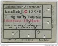 Fahrschein - Woltersdorf - Woltersdorfer Strassenbahn - Sammelkarte - Fahrkarte - Gültig Für 5 Fahrten - Fasanenstrasse - Strassenbahnen
