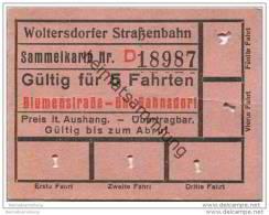 Fahrschein - Woltersdorf - Woltersdorfer Strassenbahn - Sammelkarte - Fahrkarte - Gültig Für 5 Fahrten - Blumenstrase - Strassenbahnen