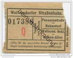 Fahrschein - Woltersdorf - Woltersdorfer Strassenbahn - Fahrschein - Strassenbahnen
