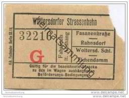 Fahrschein - Woltersdorf - Woltersdorfer Strassenbahn - Fahrschein - Tramways