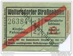 Fahrschein - Woltersdorf - Woltersdorfer Strassenbahn - Kinder-Fahrschein - Strassenbahnen