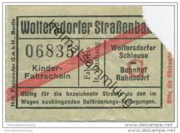Fahrschein - Woltersdorf - Woltersdorfer Strassenbahn - Kinder Fahrschein - Strassenbahnen