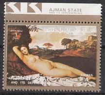 """Ajman 1973 Mi. 2562 """"Venere Dormiente"""" Quadro Dipinto Da Giorgione E Tiziano - Rinascimento Preobliterato Paintings - Nudes"""