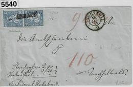 1865 Sitzende Helvetia 31/23 Im Paar Balkenstempel Rohrbach To Langenthal 16. Jan. 65 Via Sumiswald Burgdorf - 1862-1881 Sitted Helvetia (perforates)