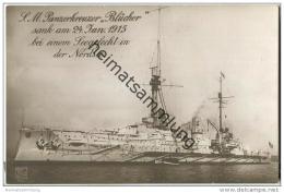 S.M. Panzerkreuzer Blücher - Foto-AK - Briefstempel Kaiserliche Marine I. Torpedoabteilung - Krieg