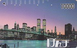 Carte Prépayée Japon - NEW YORK / TOURS JUMELLES - WTC - USA Related Japan Prepaid Card - Site 128 - Paysages