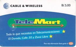 TARJETA DE PANAMA DE TELEMART DE CABLE & WIRELESS - Panama
