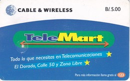 TARJETA DE PANAMA DE TELEMART DE CABLE & WIRELESS - Panamá