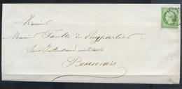 Imprime France 1853-60 Emission Empire Napoléon III Non Dentelé 5c Vert-jaune No12a. De Beauvais à Beauvais. Expertisé - 1849-1876: Période Classique