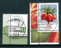 GERMANY Mi.Nr. 3042-3043 Freimarken: Ziffer, Blumen - ESST Berlin - Eckrand Unten Links - Used - BRD