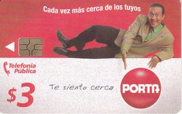 TARJETA DE ECUADOR DE PORTA DE $3 HOMBRE TUMBADO - Ecuador