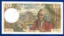 BILLET 10 FR VOLTAIRE 1971 - 10 F 1963-1973 ''Voltaire''