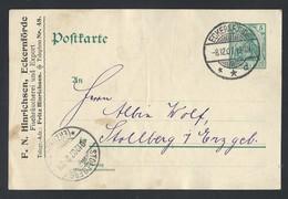 19de.Postkarte. Es Gab Eine Post Im Jahr 1907 Eckernforde  Stollberg. Deutsches Reich. Rechnung - Lettres & Documents
