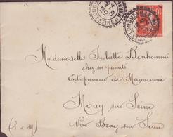 ENVELOPPE TIMBRE 1909  LONGUEVILLE SEINE ET MARNE A  BRAYS S/ SEINE - Marcophilie (Lettres)