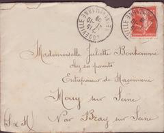 ENVELOPPE TIMBRE 1909  LONGUEVILLE A  BRAYS S/ SEINE - Marcophilie (Lettres)