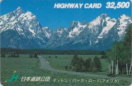 RARE Carte Prépayée Japon - USA - GRAND TETON ROAD NATIONAL PARK WYOMING Japan Prepaid Card - Site HW 142 - Landscapes