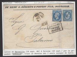 MARSEILLE : DEVANT De Pli Avec 20c EMPIRE Dentelé  X2 Oblt ANCRE + CàD MENZALEH + PIROSCAFI POSTALI FRANCESI P PALERME - Marcophilie (Lettres)