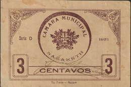 CÉDULA DE 3 CENTAVO -SÉRIE D 1921- CÂMARA MUNICIPAL DA NAZARETH - Portugal