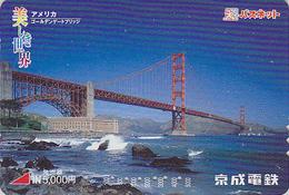 Carte Prépayée Japon - PONT USA / San Francisco Golden Gate Bridge Japan Prepaid Card - Brücke Karte - Site 147 - Landscapes