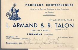 Lormont (33 Gironde) Carte ARMAND ET TALON  Panneaux Contreplaqués (PPP14650) - Advertising