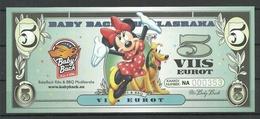 ESTLAND ESTONIA 5 EUR BBQ Advertising Geld Money Walt Disney Minnie Mouse 2018 UNC - Estonia