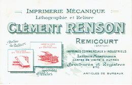 REMICOURT 1914 Carte Publicitaire  IMPRIMERIE MECANIQUE CLEMENT RENSON - Lithographie & Reliure - Remicourt