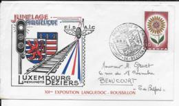 34.- BEZIERS ..- 1965 JUMELAGE  PHILATEIIQUE LUXEMBOURG BEZIERS - FDC